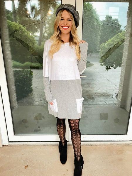 Soft Grey Color Block Long Sleeve Tunic w/ Pockets