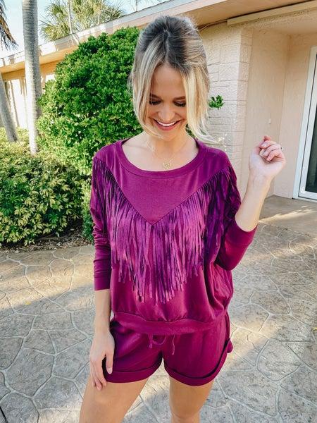 Berry Boho Fringe Detailed Top & Shorts Set