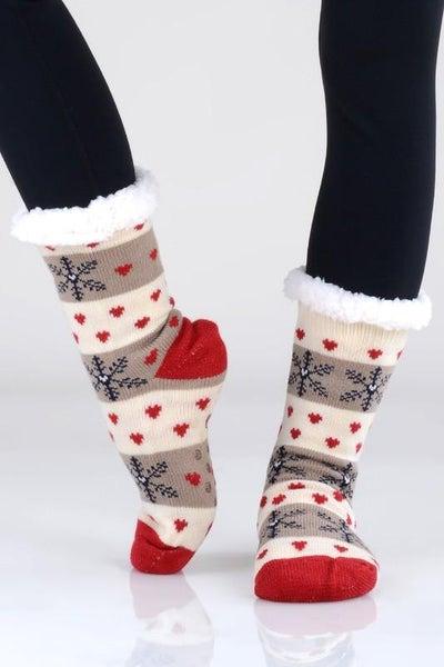 Mocha Ivory Holiday Print Faux Sherpa Slipper Socks