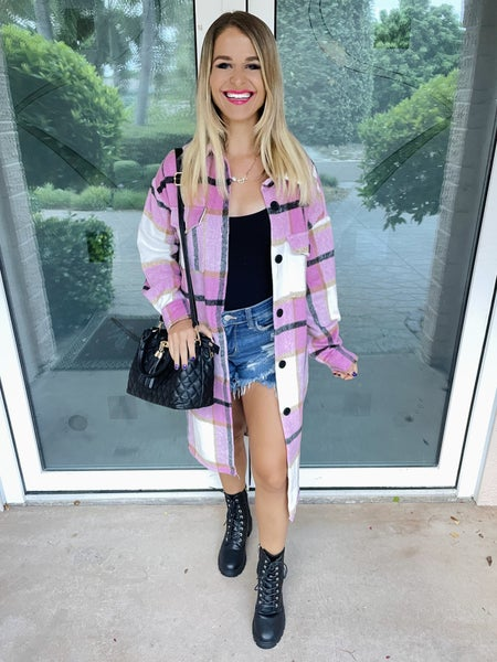 Pink High Fashion Plaid Pockets Coat Shacket