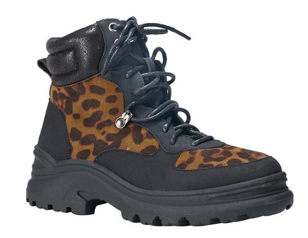 Leopard Lace Up Ankle Combat Boots