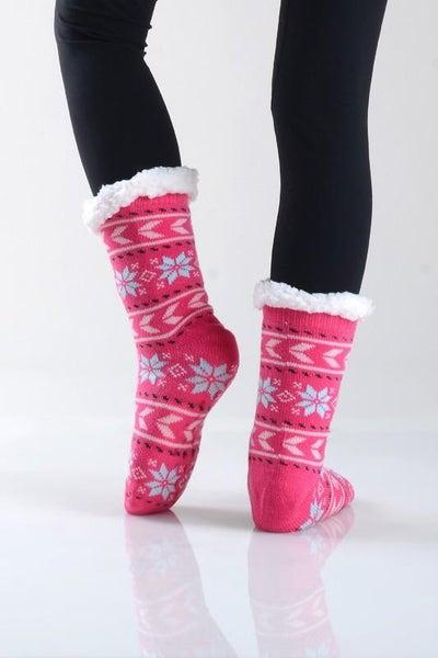 Pink Holiday Faux Sherpa Slipper Socks
