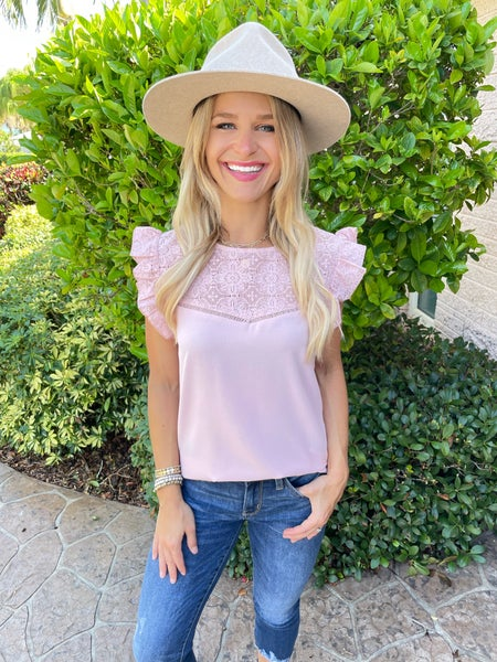Swiss Entredeux Pink Lace Top