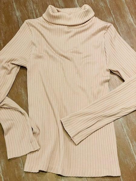 Cream Ribbed Polo Neckline Stretchy Light Knit Pullover