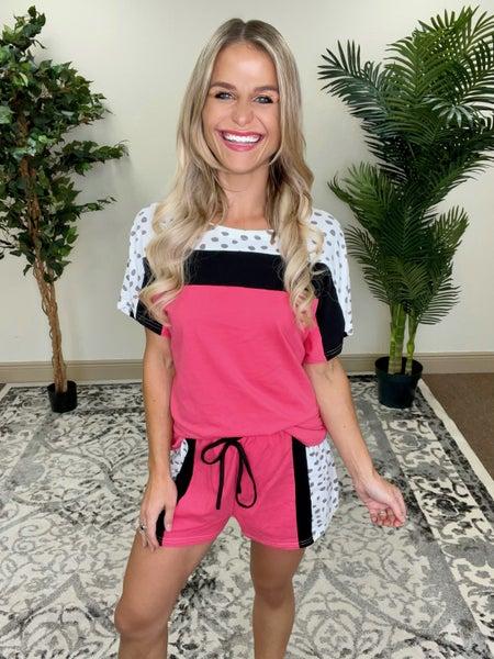 Raspberry Glaze Color Block Tee & Shorts Pajama Loungewear Hybrid Set