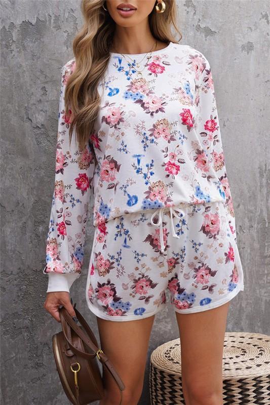 Floral Print Long Sleeve Top and Shorts Set