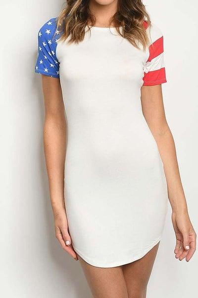 American Flag Color Block T-Shirt Dress/Tunic