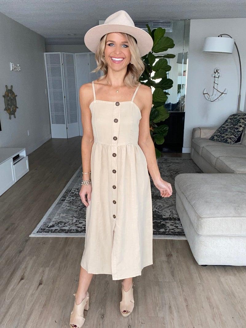 Khaki Button Detail Stretchy Back Dress | Adjustable Straps