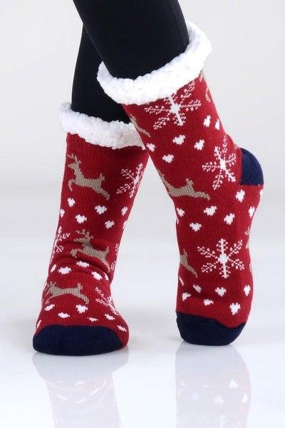 Red Holiday Print Faux Sherpa Slipper Socks