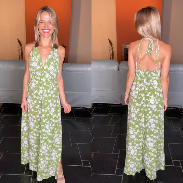 Palm Green Floral Stretchy Halter Maxi Dress
