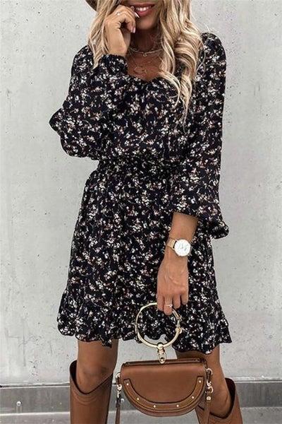 Black Floral Boho Modern Cut Smocked Waist Dress