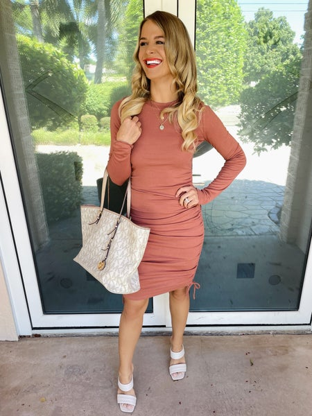 Sunkissed in Fall Long Sleeve Side Ruched Long Sleeve Dress