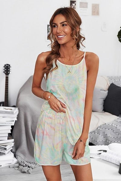 Trendy Summer Swirl Tie Dye Tank Top & Pocket Shorts Set