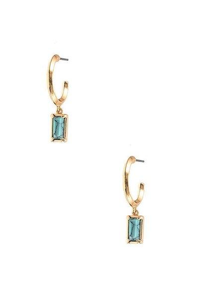 Turquoise Gem Drop Semi Circle Earrings