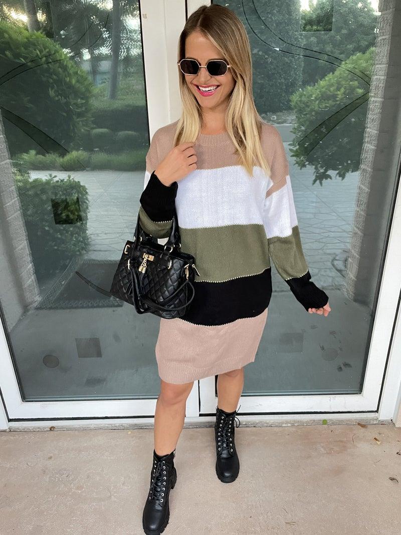 Green Mix Color Block Fall Sweater Dress