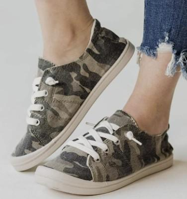 Camo Lace Up Slip On Sneakers