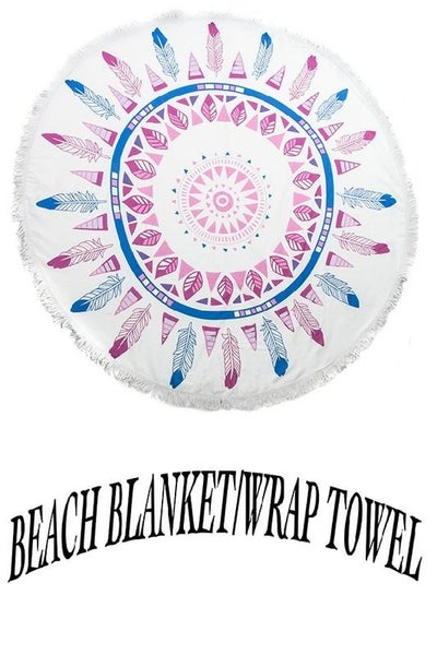 Dream Catcher Feather Circle Beach Blanket Towel