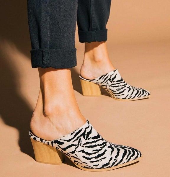 Zebra Open Back Slip On Heels