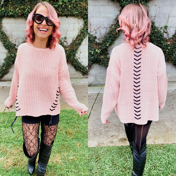 Rosé All Day Leather Lace Up Detailed Sweater