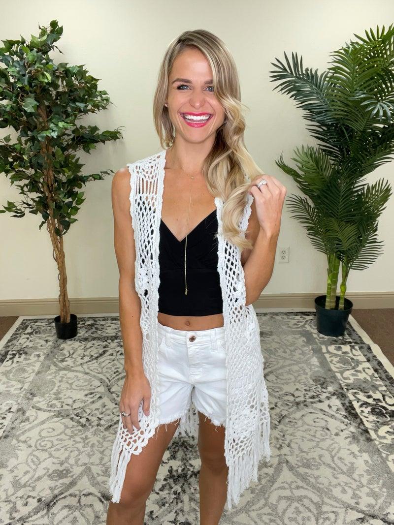 White Floral Boho Crochet Long Vest Cardigan