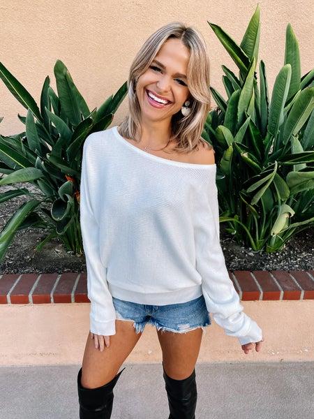 Ivory Dolman Sleeve Sabrina Neckline Sweater