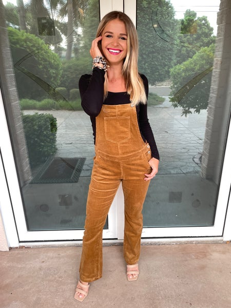 Camel Corduroy Bootcut Stretchy Overalls   Adjustable Straps
