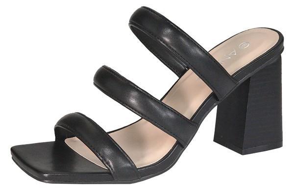 Black Strappy Chunky Slide On Easy Heels