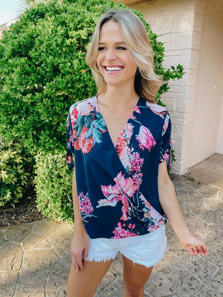Midnight Navy Floral Hi-Lo Hem Tie Sleeve Blouse