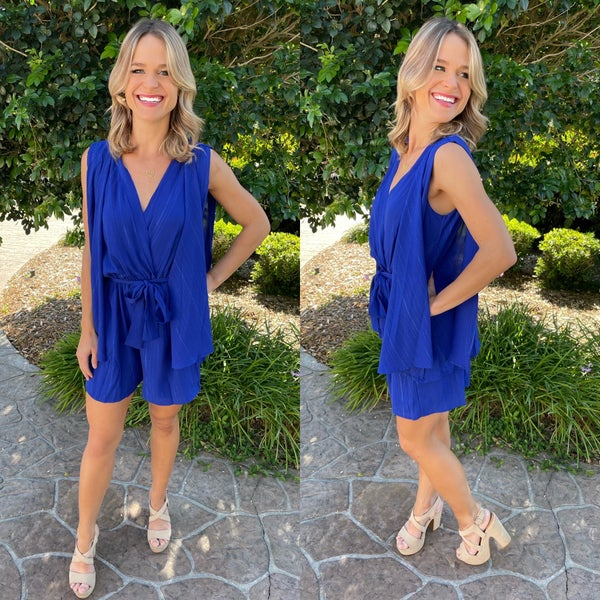Chic Bohemian Royal Blue Draped Open Sleeve Romper