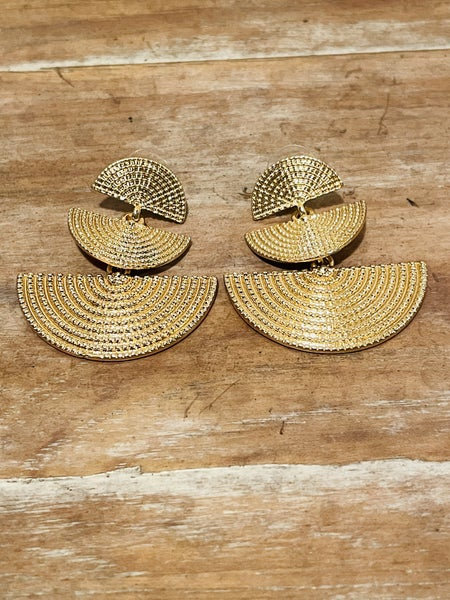 Gold Boho Semi Circle Triple Layer Earrings