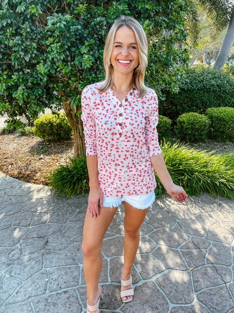 Pink Vintage Floral Button Detail Long Sleeve Top