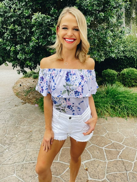 Lilac Spring On or Off Shoulder Floral Top