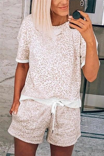 Leopard Tee & Pocket Drawstring Shorts Pajama & Lounge Set