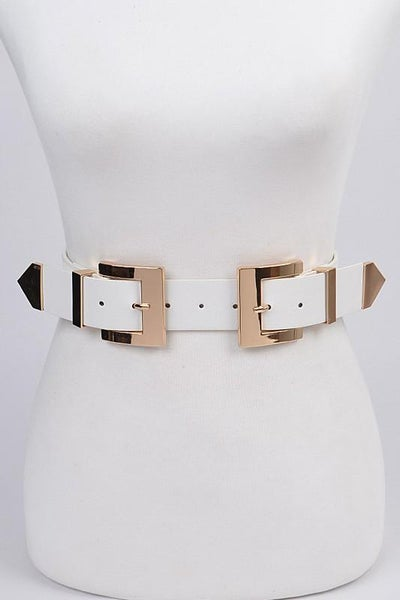 White Double Square Stretchy Buckle Belt