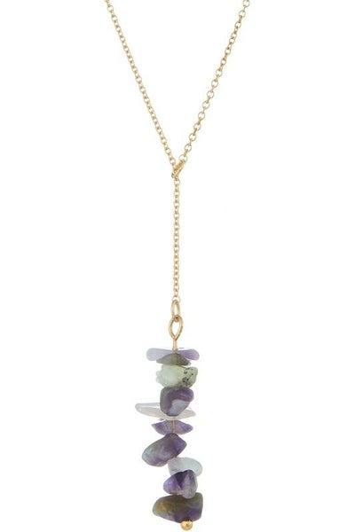 Amethyst Crystal Lariat Semi Precious Stone Y Necklace