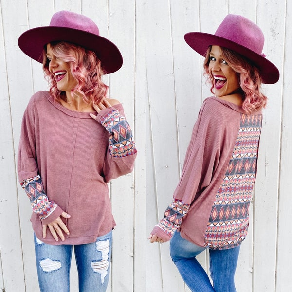 *SALE* Marsala Mixed Aztec Accent Long Sleeve Top