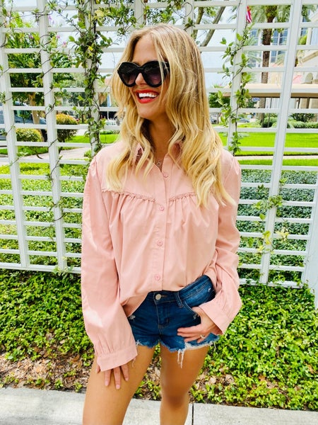 Pink Pleated Bust Button Blouse Top