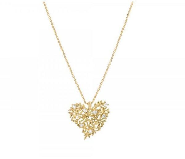 14 Karat Gold CZ Vine & Leaf Heart Pendant Necklace