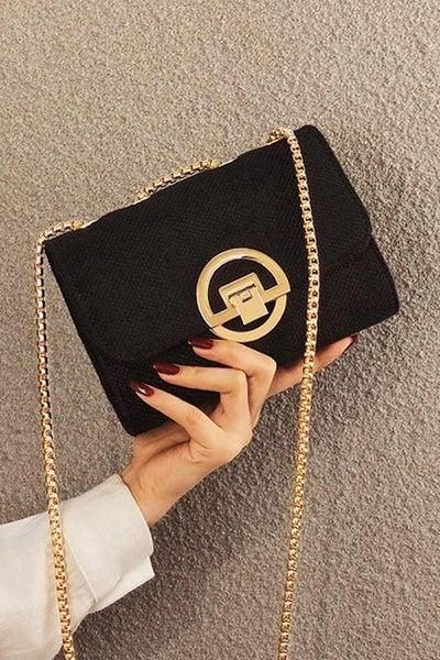 Black Trendy Turn Key Shoulder Bag