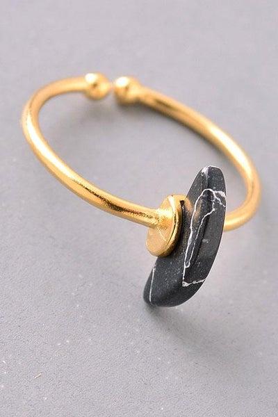 *SALE* Black Marble Crescent Gemstone Adjustable Ring