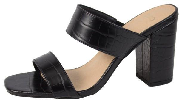 Black Slip On Comfy Heel Sandals