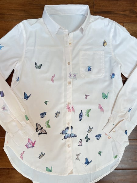 Apricot Cascading Butterflies Button Down Pocket Top
