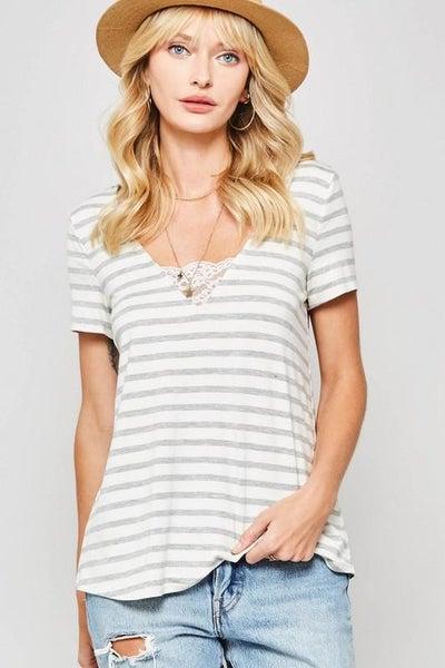 Lace Trimmed V-Neck Striped Top - Grey