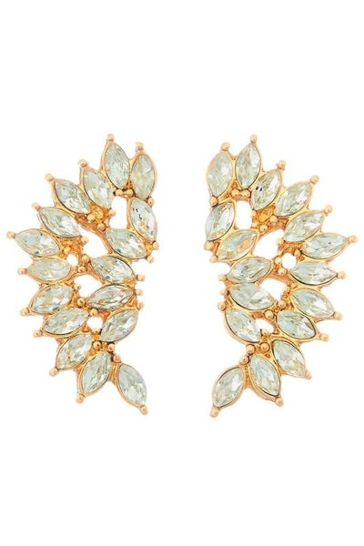 Gold Stone Studded Wing Earrings