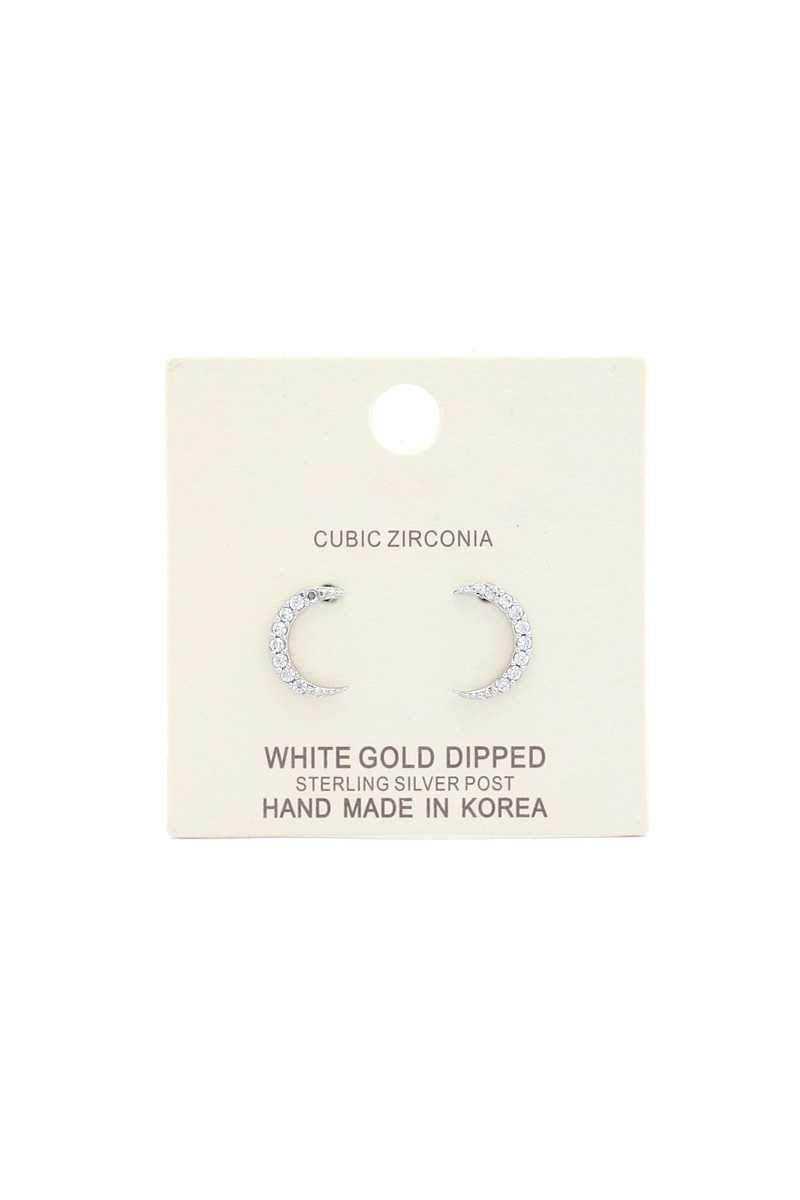 14 Karat White Gold Dipped CZ Crescent Moon Earrings