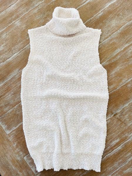 Sophisticated Cream Turtleneck Knit Sleeveless Top