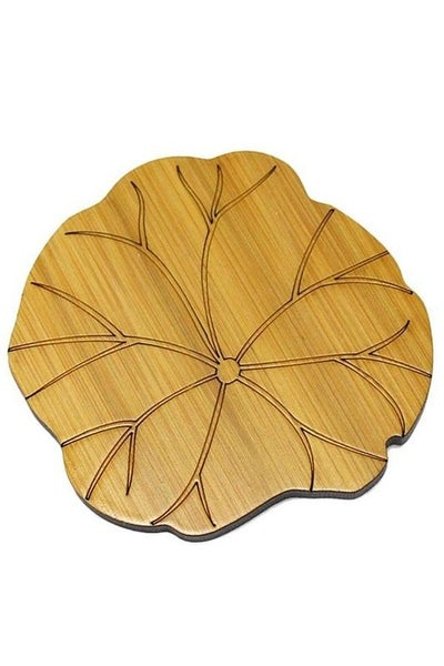 Hand Carved Flower Natural Wood Coasters (Set of 2)