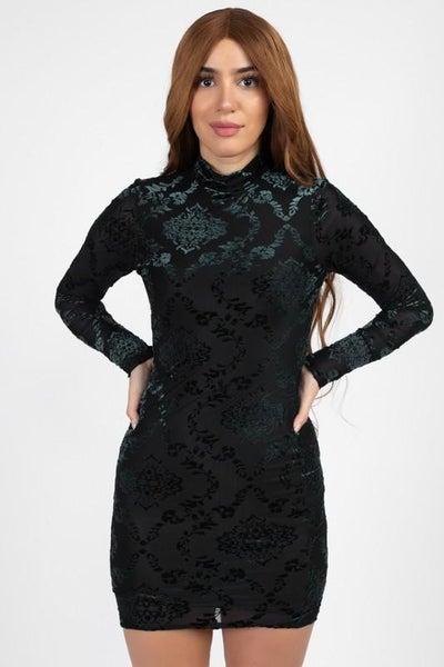 Emerald Velvet Vixen Long Sleeve Dress