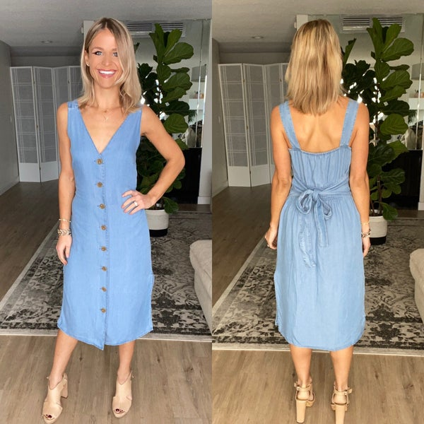 Button Down Sleeveless Tencel Denim Midi Dress | Pockets