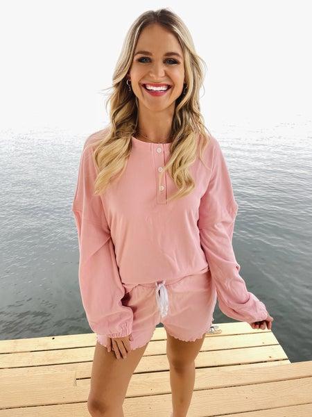 Pink Buttery Soft Henley & Shorts Set